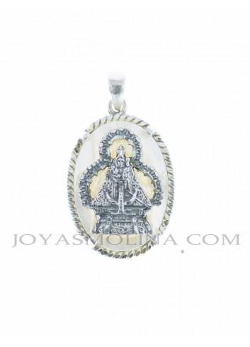 Medalla Virgen de la Cabeza plata nácar oval