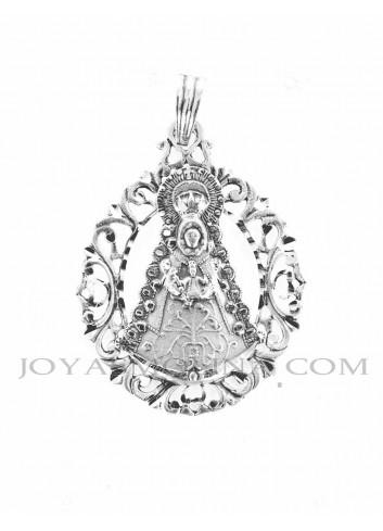 Medalla Virgen del Rocío plata rocallas