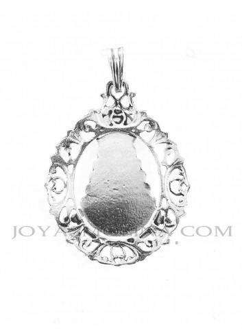 Reverso Medalla Virgen del Rocío plata rocallas