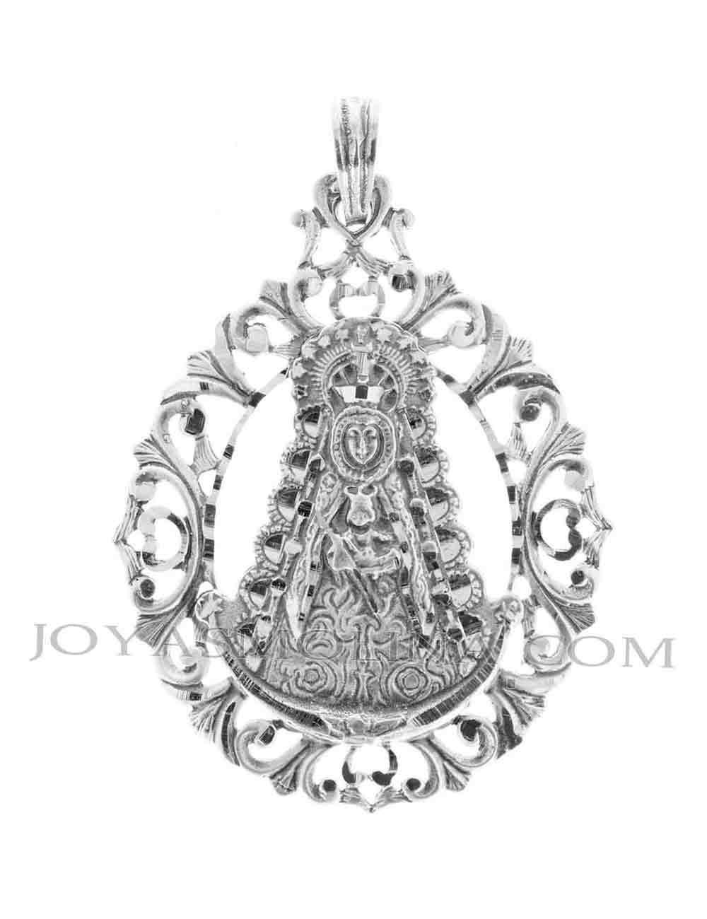 Medalla Virgen del Rocío plata rocallas caladas