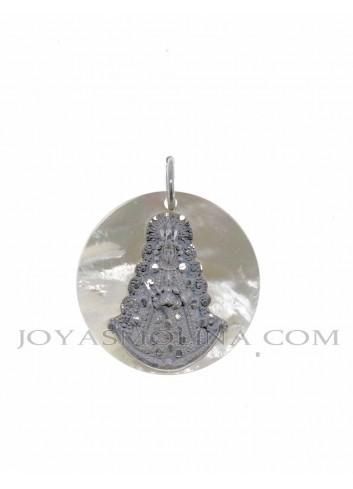 Medalla Virgen del Rocío plata nácar