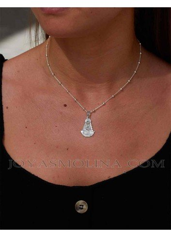 Medalla Virgen del Rocío plata silueta