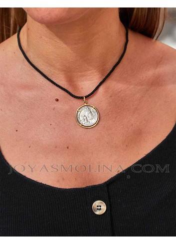 Medalla aparición Virgen de la Cabeza plata y oro