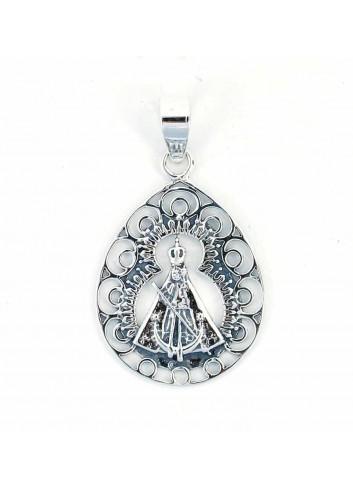 Medalla plata Virgen de la Cabeza círculos calados