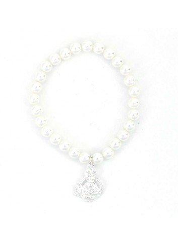 Pulsera Virgen de la Cabeza niña perlas sintéticas plata