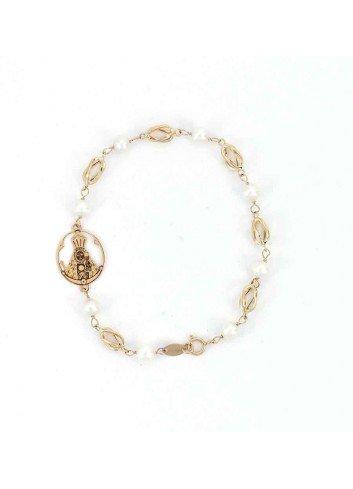 Pulsera Virgen  Cabeza oro perlas jaulas