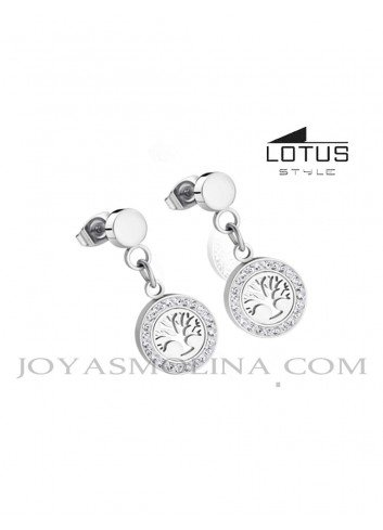 Pendientes Lotus Style árbol de la vida círculo LS1869-4/1