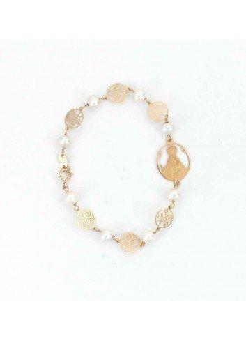 Pulsera Virgen  Cabeza oro perlas espirales