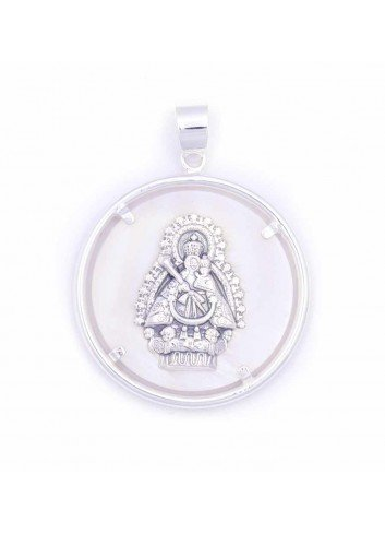 Medalla Virgen Cabeza plata nácar 36mm