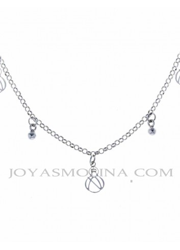 Gargantilla Virgen de la Cabeza plata perlas silueta