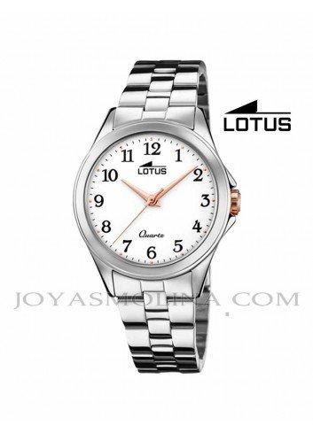 Reloj Lotus mujer cadena esfera blanca números