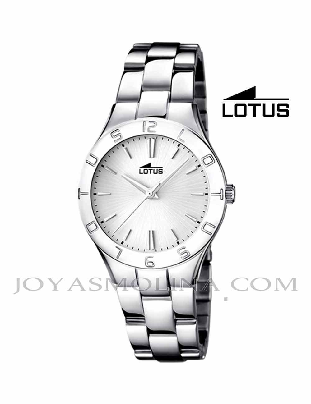 Reloj Lotus mujer cadena esfera blanca