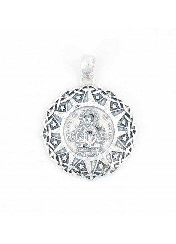 Medalla Virgen Cabeza plata espigas estrellas redonda