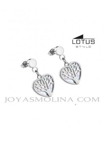 Pendientes Lotus Style árbol de la vida corazón LS2022-4/1