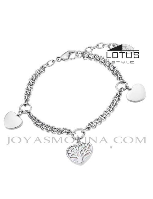 Pulsera Lotus árbol de la vida acero colgantes corazón LS2022-2/1