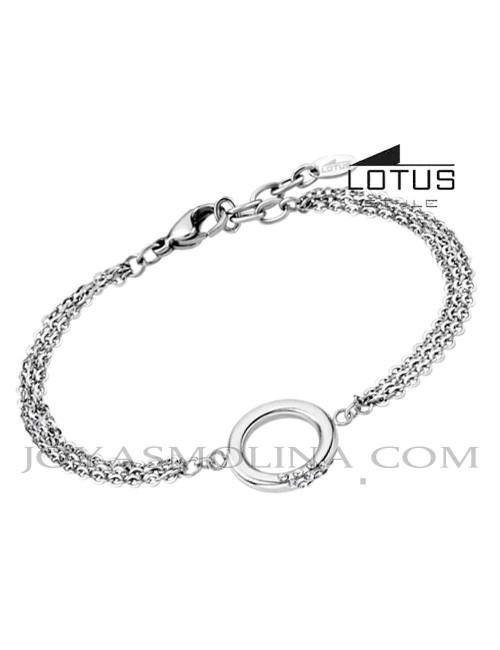 Pulsera Lotus acero círculo con circonitas LS1947-2-1