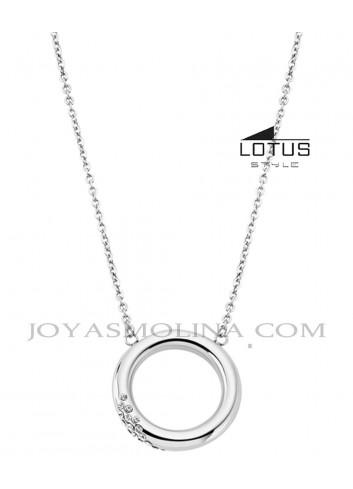 Gargantilla Lotus acero círculo circonitas LS1947-1-1