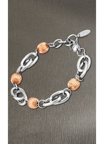 Pulsera bolas chapadas oro rosa y eslabones acero Lotus Style LS1619/2/3