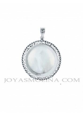 Reverso medalla Virgen del Rocío nácar