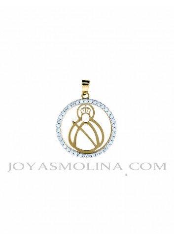 Medalla Virgen Cabeza oro redonda circonitas