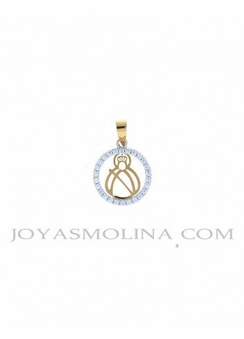 Medalla Virgen Cabeza oro redonda circonitas pequeña