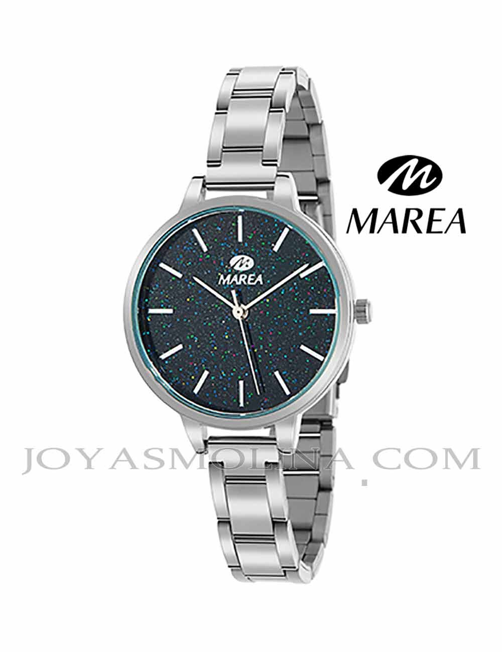 Reloj Marea mujer cadena B41239-2 esfera purpurina negra