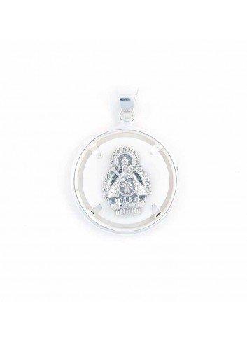 Medalla Virgen Cabeza plata nácar 25mm