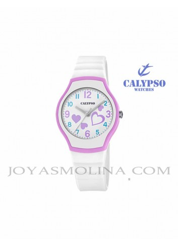 Reloj Calypso niña goma blanca redondo