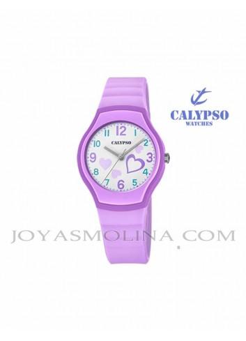 Reloj Calypso niña goma lila redondo