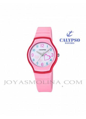 Reloj Calypso niña goma rosa redondo