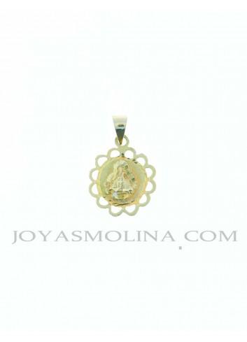 Medalla Virgen Cabeza oro redonda flor
