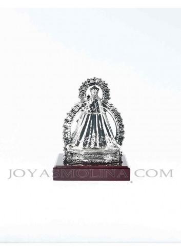 Figura Virgen de la Cabeza resina plateada mediana