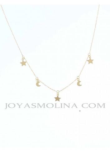Gargantilla estrellas y lunas en oro
