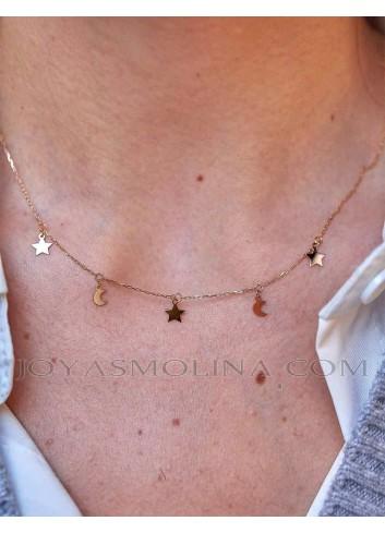 Gargantilla estrellas y lunas en oro muestra