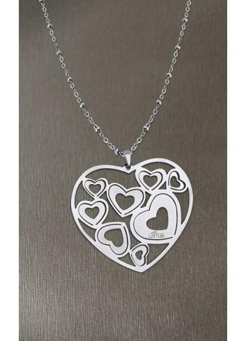 Colgante corazones calados con cadena bolas Lotus Style LS1726/1/1