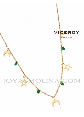 Gargantilla Viceroy acero dorado colgantes estrellas