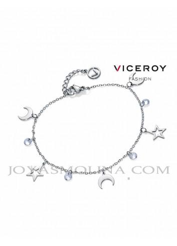 Pulsera Viceroy acero colgantes estrella, luna y circonitas