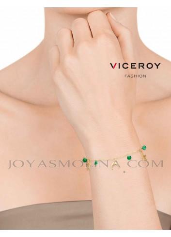 Pulsera Viceroy acero dorado colgantes estrellas, lunas y circonitas verdes mujer