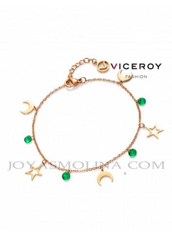 Pulsera Viceroy acero dorado colgantes estrellas, lunas y circonitas verdes