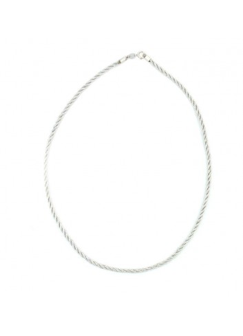 Cordón hilo plateado 43cm terminales plata