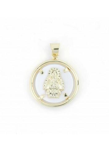 Medalla Virgen Cabeza plata chapada nácar 26mm