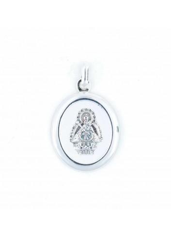 Medalla Virgen Cabeza plata oval esmalte blanco 23x36