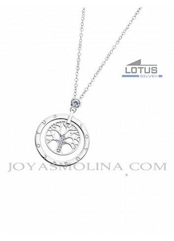 Gargantilla plata árbol de la vida Lotus