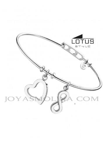 Brazalete acero Lotus colgante infinito y corazón
