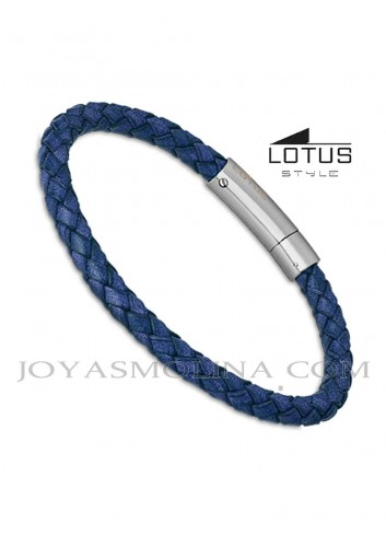 Pulsera hombre Lotus cuero trenzado redondo azul