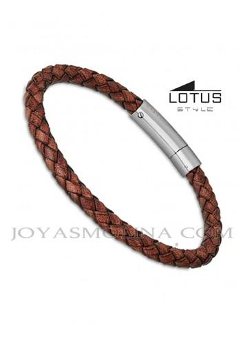 Pulsera hombre Lotus cuero trenzado redondo marrón