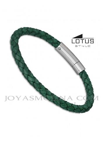 Pulsera hombre Lotus cuero trenzado redondo verde