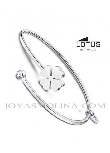 Brazalete Lotus Style acero trebol mujer