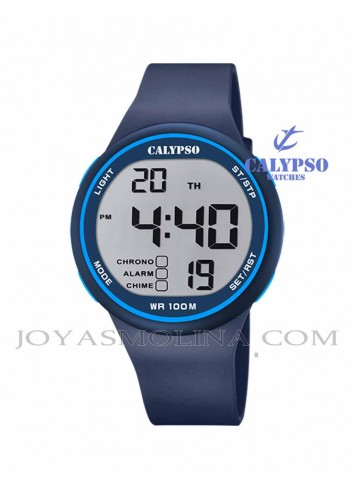 Reloj niño Calypso digital goma azul
