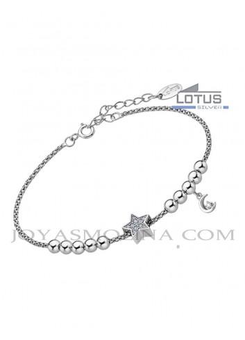 Pulsera Lotus plata estrella sobre malla